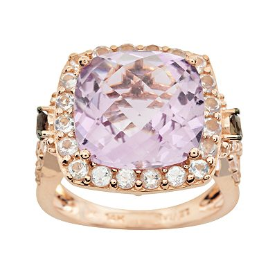 14k Rose Gold Amethyst, White Topaz and Smoky Quartz Frame Ring