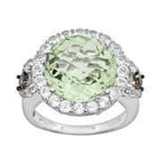 14k White Gold Green Amethyst, White Topaz and Smoky Quartz Frame Ring