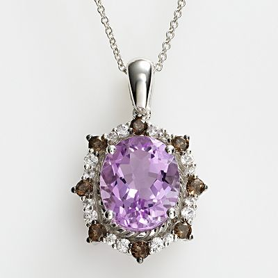 14k White Gold Amethyst, White Sapphire and Smoky Quartz Oval Pendant