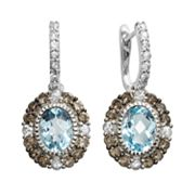 14k White Gold Blue Topaz, White Sapphire and Smoky Quartz Oval Drop Earrings