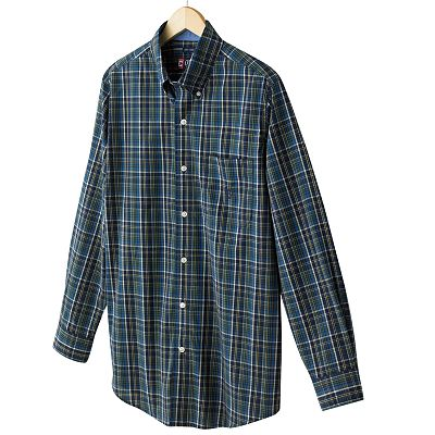 Chaps Slim Custom-Fit Easy-Care Plaid Casual Button-Down Shirt