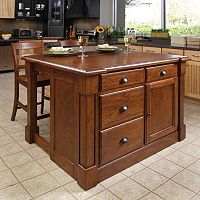 Aspen 3 pc Kitchen Island & Counter Stools Set