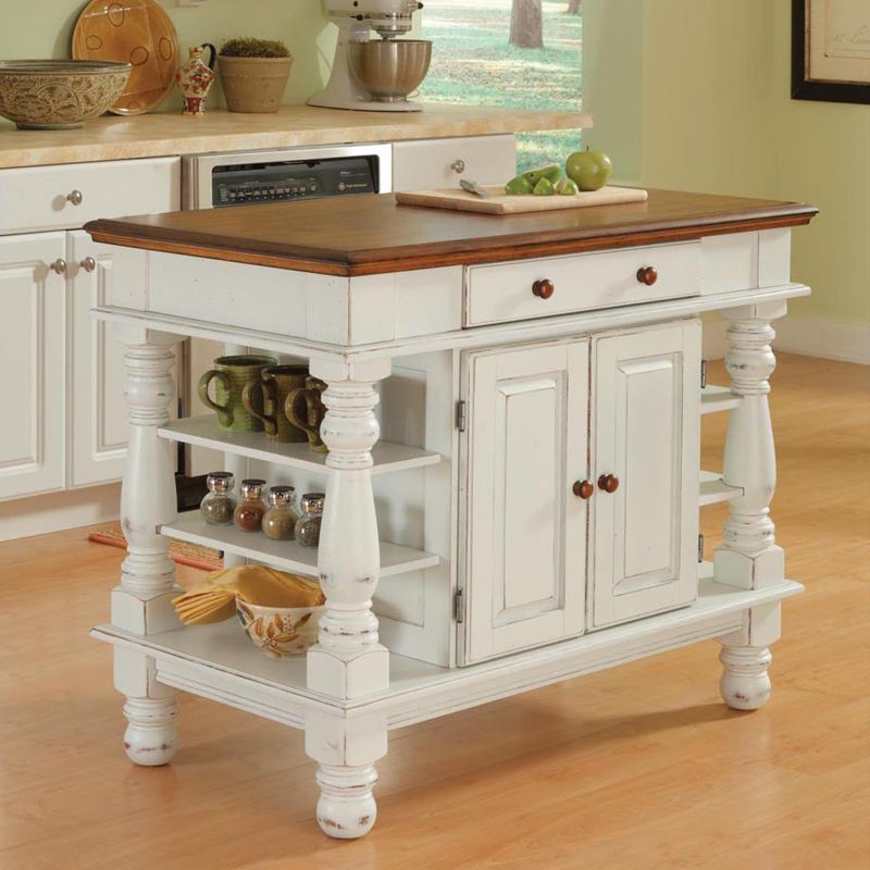 "Home Styles Kitchen Island - 24"" x 42"" x 36"" - 5 x Shelf(ves) - 1 x Drawer(s) - 2 x Door(s) - White - Oak - Wood - Assembly Required"