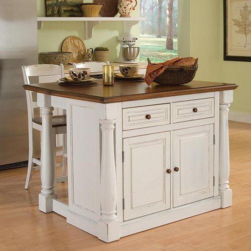Monarch 3 Pc Kitchen Island Amp Counter Stools Set