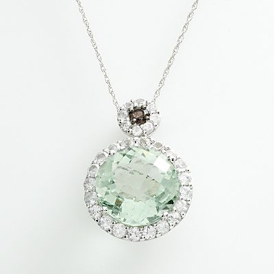 14k White Gold Green Amethyst, White Topaz and Smoky Quartz Frame Pendant