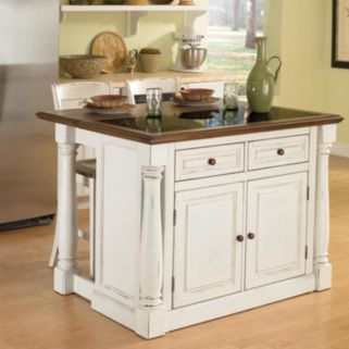 Monarch 3-pc. Kitchen Island with Granite Top and Counter Stools Set