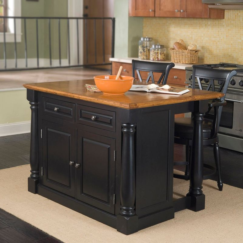 monarch 3 pc kitchen island and counter stools set