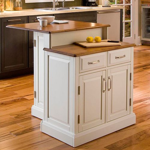 Shop Home Styles White Farmhouse Kitchen Islands At Lowes Com: Woodbridge Two Tier Kitchen Island