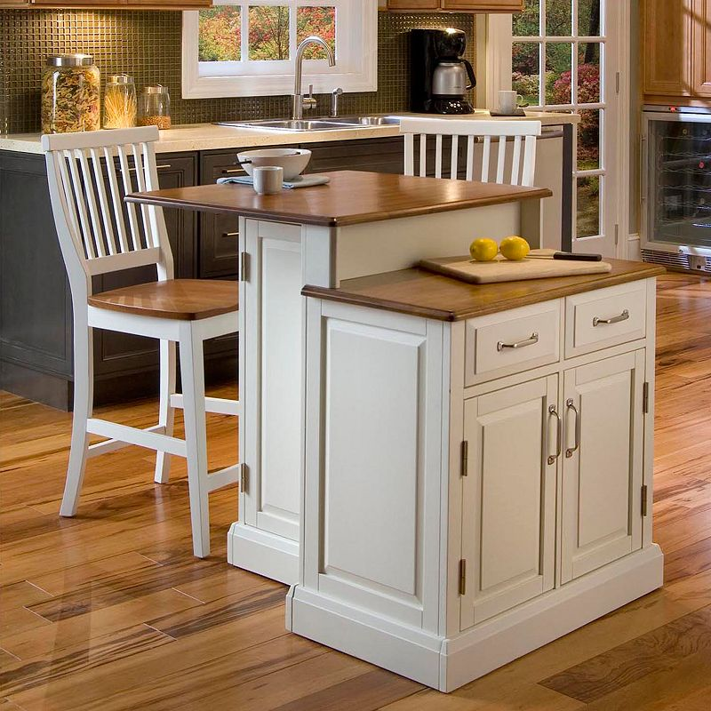 Woodbridge Two Tier Kitchen Island With Stools, Furniture