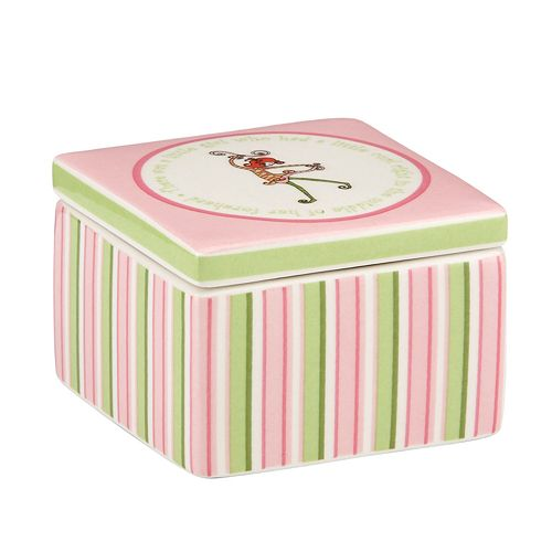 Merry Go Round Little Girl With A Curl Striped Trinket Box
