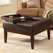 Kinfine Preston Square Cocktail Ottoman with Removable Tray