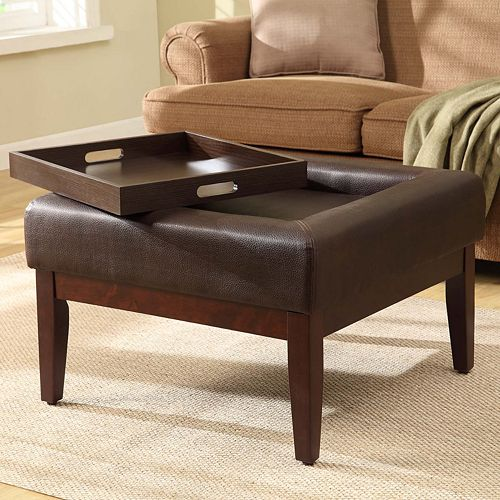 Astounding Kinfine Preston Square Cocktail Ottoman With Removable Tray Gamerscity Chair Design For Home Gamerscityorg