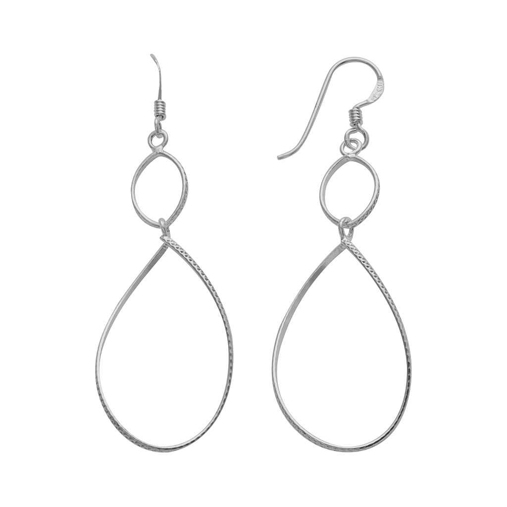 Sterling Silver Textured Teardrop Earrings