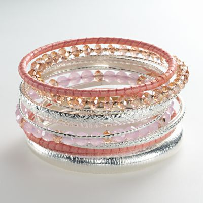 Candie's Silver Tone Bead and Ribbon Textured Bangle Bracelet Set