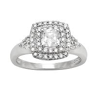 DiamonLuxe Sterling Silver 1 1/3-ct. T.W. Simulated Diamond Halo Ring