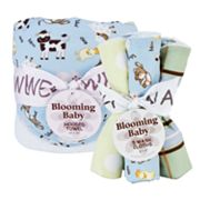 Trend Lab Baby Barnyard Hooded Towel and Washcloth Bouquet Set