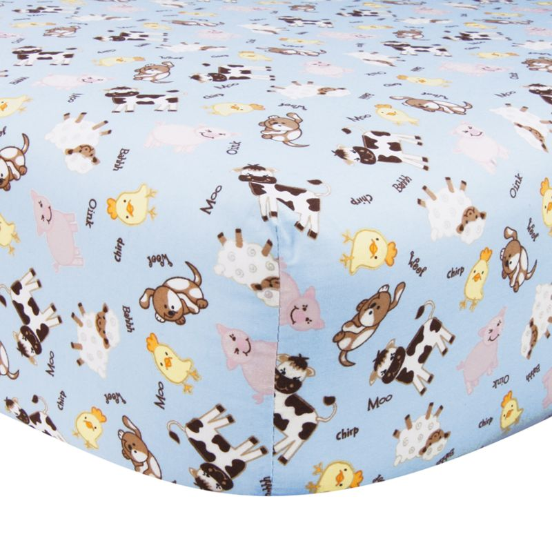 Trend Lab Baby Barnyard Fitted Crib Sheet, Blue One Size