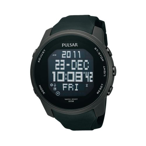 Pulsar Stainless Steel Black Ion World Time Chronograph Digital Sports Watch - Men