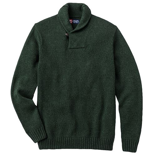 Chaps Solid Shawl Collar Sweater