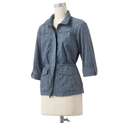 Croft and Barrow Roll-Tab Chambray Anorak Jacket