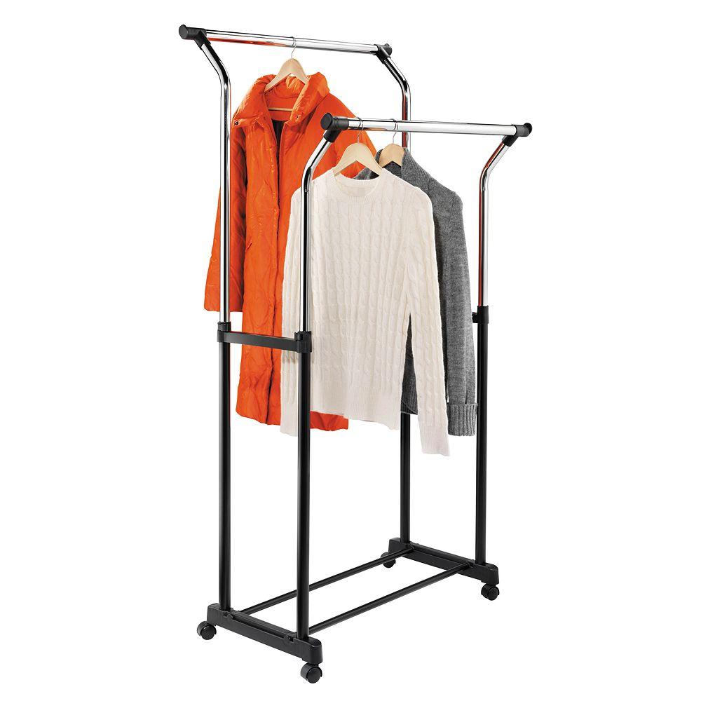 Honey-Can-Do Chrome Double Expandable Garment Rack