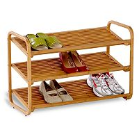 Honey-Can-Do Bamboo 3-Tier Deluxe Shoe Rack