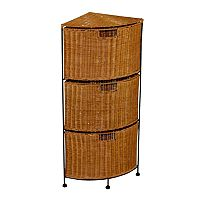 3-Drawer Wicker Corner Storage Unit