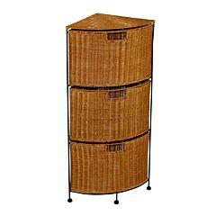 3-Drawer Wicker Corner Storage Unit