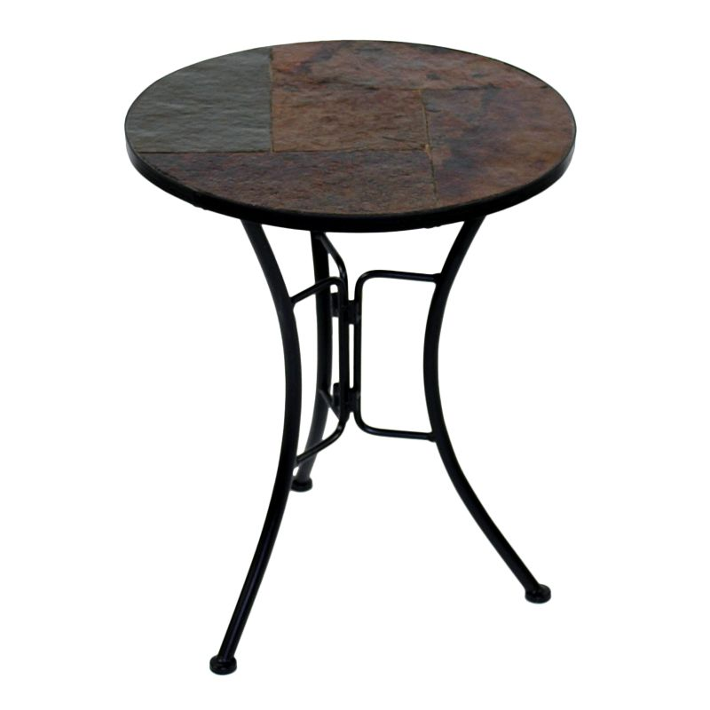Slate Round End Table, Brown