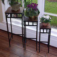 Slate 3 pc Square Plant Stand Set - Outdoor