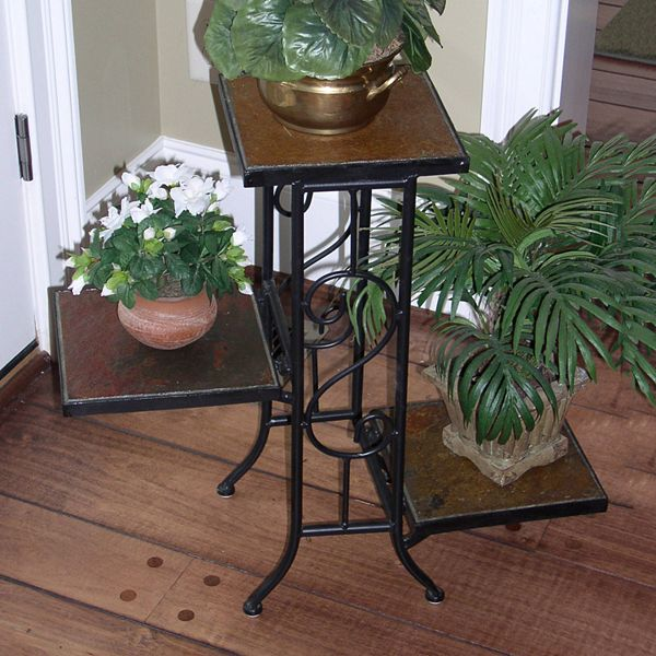 Slate 3 Tier Plant Stand Outdoor, Patio Plant Stands Tiered
