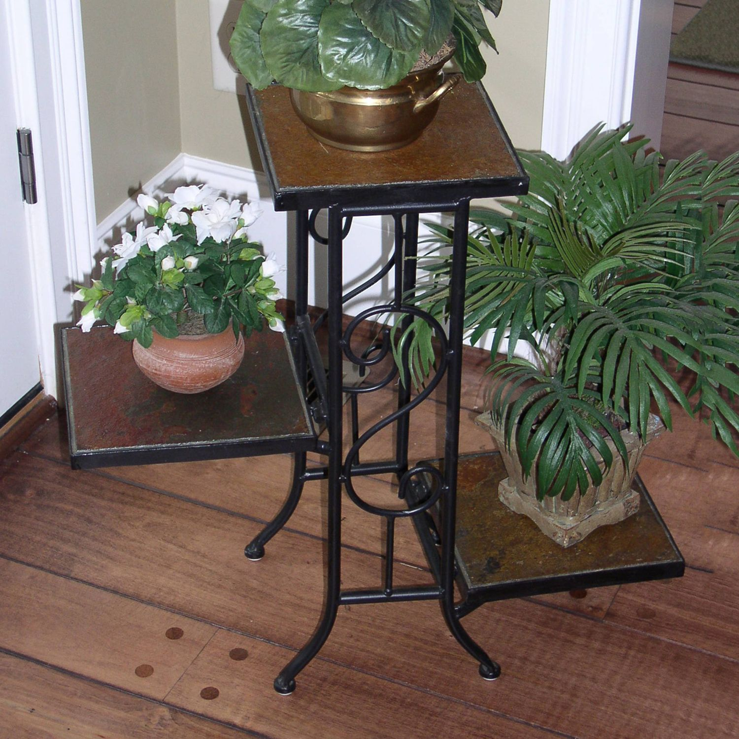 Slate 3 Tier Plant Stand   Outdoor