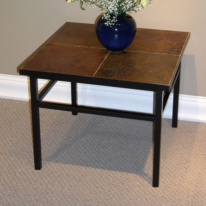 Slate End Table, Brown