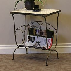 Travertine Magazine End Table