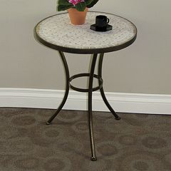 Travertine Round End Table