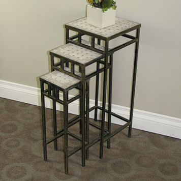 Travertine 3-pc. Square Plant Stand Set - Outdoor