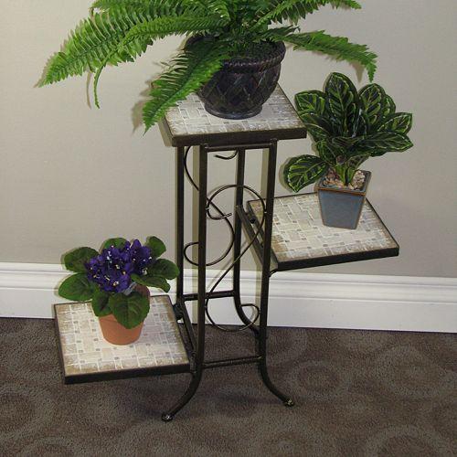 Travertine 3-Tier Plant Stand - Outdoor