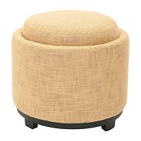 Safavieh Jasper Round Single Tray Gold Storage Ottoman