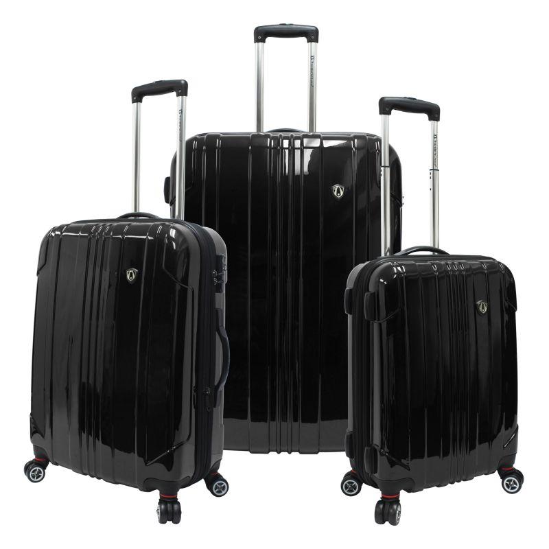 Traveler's Choice 3-Piece Sedona Hardcase Luggage Set, Black