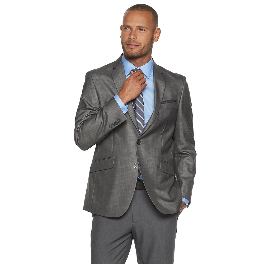 Mens Billy London Slim Fit Sharkskin Suit Jacket Tailored With Twin Buttons