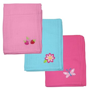 Green Sprouts by i play. 3-pk. Pink & Blue Embroidered Muslin Multipurpose Baby Wipes