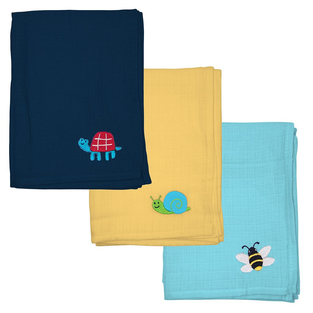 Green Sprouts by i play. 3-pk. Blue & Yellow Embroidered Muslin Multipurpose Baby Wipes