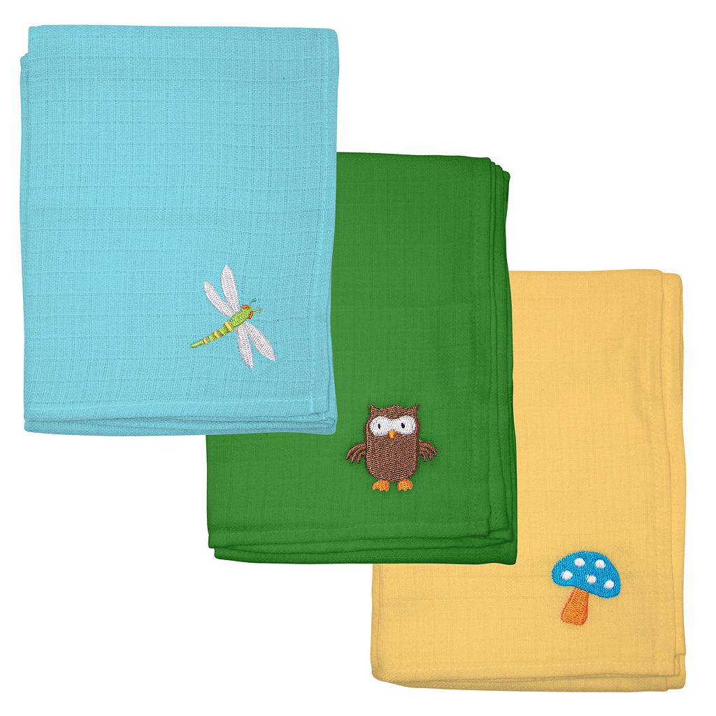 Green Sprouts by i play. 3-pk. Embroidered Muslin Multipurpose Baby Wipes