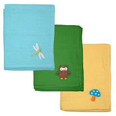 Green Sprouts by i play. 3 pkEmbroidered Muslin Multipurpose Baby Wipes
