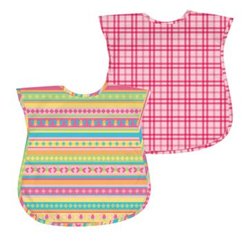 Green Sprouts by i play. 2-pk. Plaid & Stripes Waterproof Bibs - Baby