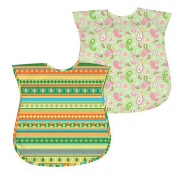 Green Sprouts by i play. 2-pk. Paisley & Striped Waterproof Bibs - Baby