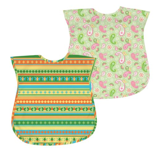 Green Sprouts by i play. 2-pk. Paisley and Striped Waterproof Bibs - Baby