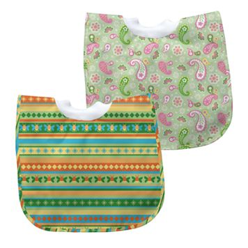Green Sprouts by i play. 2-pk. Pullover Paisley & Striped Waterproof Bibs - Baby
