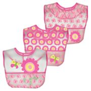 Green Sprouts by i play. 3-pk. Floral and Butterfly Waterproof Bibs  - Baby