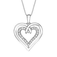 Two Hearts Forever One Sterling Silver 1/4 ctT.W. Diamond Heart Pendant